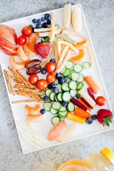 Fresh fruits and veggies snack tray, Trend Health